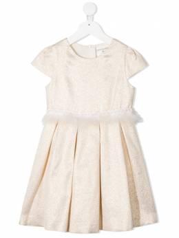 Charabia плиссированное платье со вставкой из тюля S12109