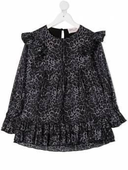 Alberta Ferretti Kids креповое платье с леопардовым узором 025395