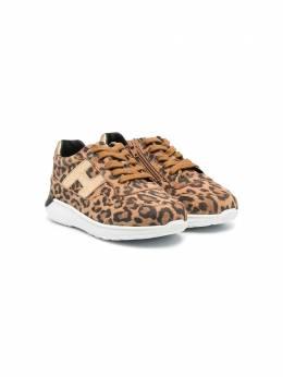 Hogan Kids кроссовки Interaction с леопардовым принтом HXT3710AP30O8O