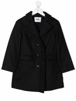 MSGM Kids embroidered heart single breasted coat 025146110