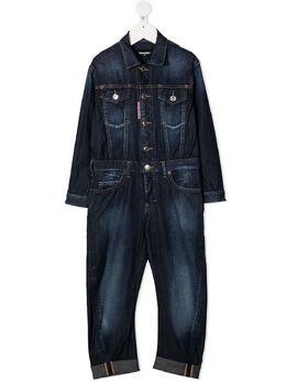 Dsquared2 Kids джинсовый комбинезон с нашивкой-логотипом DQ04BCD002C