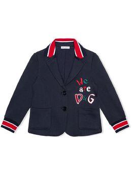 Dolce & Gabbana Kids однобортный блейзер с вышитым логотипом L5JE57G7XBL