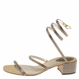 Rene Caovilla Metallic Gold Crystal Embellished Ankle Wrap Sandals Size 39 369876
