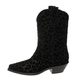 Dolce&Gabbana Black Animal Print Lurex and Velvet Cowboy Boots Size 38.5 369560