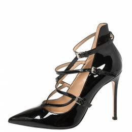 Gianvito Rossi Black Patent Leather Crisscross Pointed Toe Pumps Size 37.5 368629