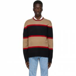 Burberry Black Wool Striped Sweater 8035922