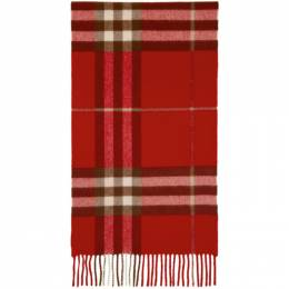 Burberry Red Cashmere Classic Check Scarf 8016402