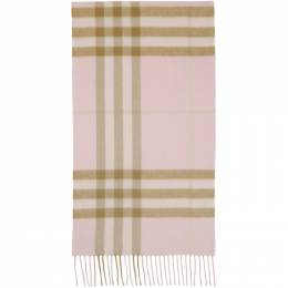 Burberry Pink Cashmere Check Classic Scarf 8016396