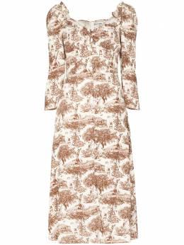 Reformation платье миди Fairway с вырезом в форме сердца 1307428REU