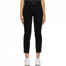 Re/Done Black 90s High-Rise Ankle Crop Jeans 189-3WHRAC