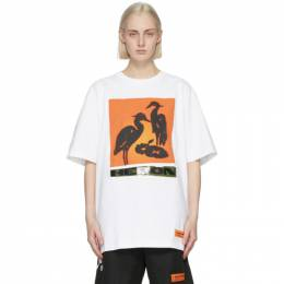 Heron Preston White and Orange Nightshift T-Shirt HMAA020R21JER0030120