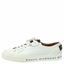 Givenchy White/Black Leather And Rubber Logo Print Low Top Sneakers Size 39.5 370279