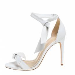 Alexandre Birman White Leather Clarita Bow Ankle Wrap Sandals Size 37 367029
