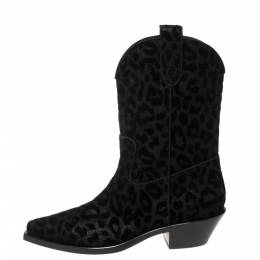 Dolce&Gabbana Black Animal Print Lurex and Velvet Cowboy Boots Size 40 370393