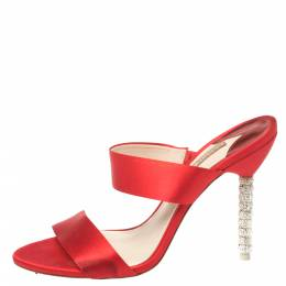 Sophia Webster Red Satin Crystal Embellished Heel Slide Mules Size 40 370410
