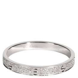 Cartier Love Diamond Wedding 18K White Gold Ring Size EU 56 369065