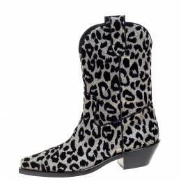 Dolce&Gabbana Black/Silver Animal Print Lurex and Velvet Cowboy Boots Size 39.5 370980