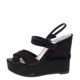 Dior Black Leather And Canvas Criss Cross Platform Wedge Slingback Sandals Size 38 370956