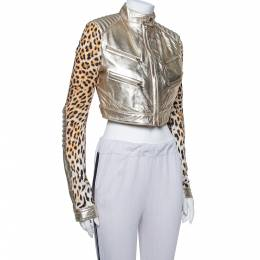 Just Cavalli Gold Leather & Leopard Print Jersey Cropped Jacket M 369189