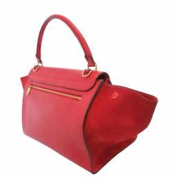 Celine Red Leather Trapeze Satchel bag 369319