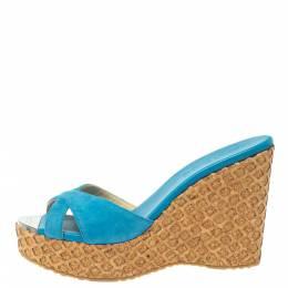 Jimmy Choo Blue Suede Perfume Cross Strap Cork Wedge Slides Size 37.5 370371