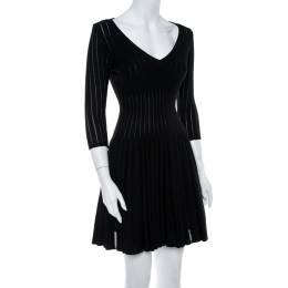Alaia Black Perforated Rib Knit Fit & Flare Dress M 369013