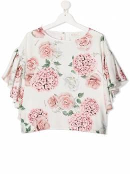 Monnalisa блузка с цветочным принтом 7176137650