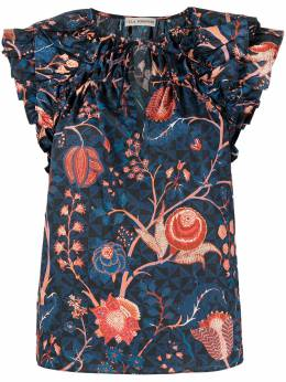 Ulla Johnson блузка с оборками и цветочным принтом PS210219