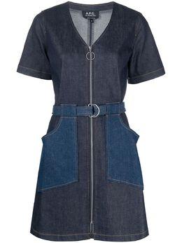 A.P.C. джинсовое платье мини со вставками COCUWF05868