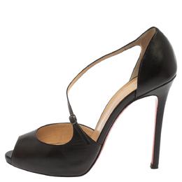 Christian Louboutin Black Leather Grorolli Pumps Size 38.5 371046