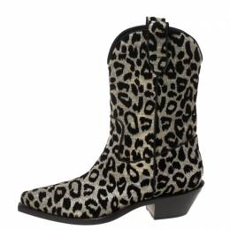 Dolce&Gabbana Silver/Gold Leopard Lurex Fabric Cowboy Boots Size 41 369430