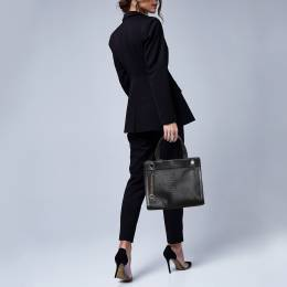 Aigner Black Python Embossed Leather Cavallina Top Handle Bag 371490