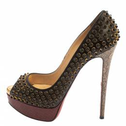 Christian Louboutin Multicolor Leather, Snakeskin and Lizard Lady Cabo Beaded Pumps Size 37 371456