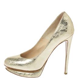 Nicholas Kirkwood Metallic Gold Floral Textured Leather Round Toe Platform Pumps Size 36.5 371436