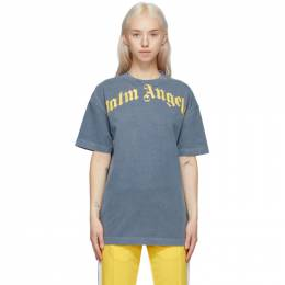 Palm Angels Navy and Yellow Vintage T-Shirt PMAA001R21JER0084618