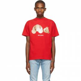 Palm Angels Red Bear T-Shirt PMAA001R21JER0012560