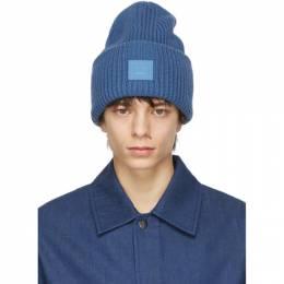 Acne Studios Blue Wool Patch Beanie C40140-
