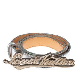 Louis Vuitton Metallic Silver Leather Logo Narrow Belt 80CM 372354