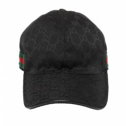 Gucci Black Guccissima Canvas Web Detail Baseball Cap S 372604