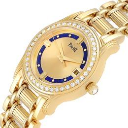 Piaget Champagne Diamonds 18K Yellow Gold Polo Lapis Lazuri 22005 Women's Wristwatch 26.5 MM 368136