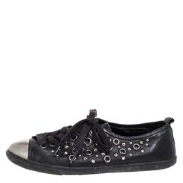 Prada Black Leather Grommet Sneakers Size 37 372961