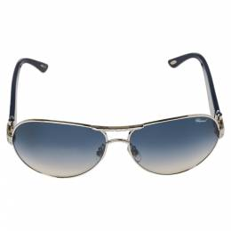 Chopard Crystal Embellished Silver Tone/ Blue Gradient SCH 866s Aviator Sunglasses 372193