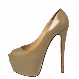 Christian Louboutin Olive Patent Leather Highness Peep Toe Pumps Size 38.5 373642