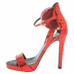 Givenchy Metallic Red Python Ankle Strap Sandals Size 39 373411