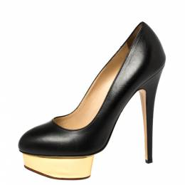 Charlotte Olympia Black Leather Dolly Platform Pumps Size 39 373590