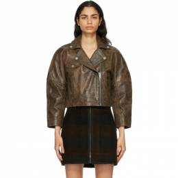 Ganni Brown Leather Washed Perfecto Jacket F5611
