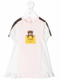 Fendi Kids платье с принтом и оборками BFB347AEYZ