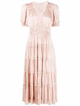 Ulla Johnson ярусное платье миди с оборками PS210122