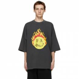 Palm Angels Black Smiley Edition Burning Head T-Shirt PMAA041R21JER0011018