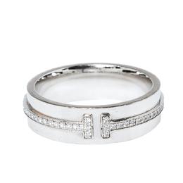 Tiffany & Co. Tiffany T Diamond 18K White Gold Wide Ring Size 53 373565